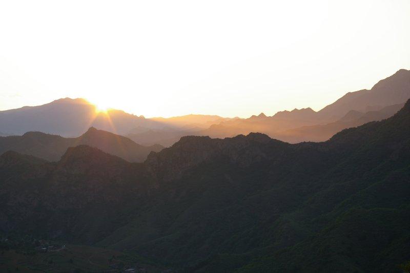 Hills sun rise
