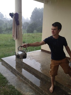 Our American colleague, Christian tries to collect water in his kettle