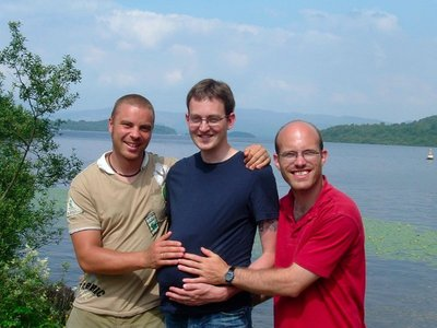 2 baldies! Ian, David and a friend Mike back in 2006..