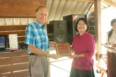 The Director presenting me with the Thai silk runner
