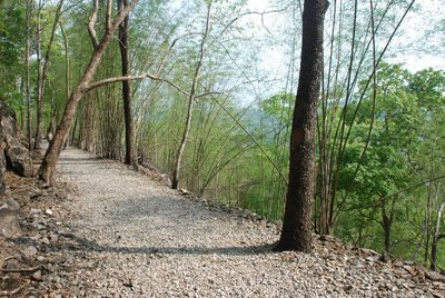 Looking along the rail route leading to Hellfire Pass