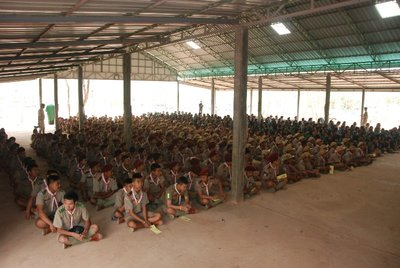 Scouts from three separate schools gather for the opening ceremony
