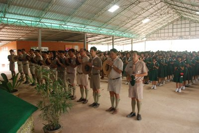The Scout leaders face the altar during the indoor opening ceremony