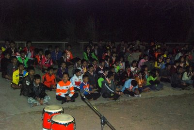 Here, Sai Moon students form part of one side of a three-sided hollow square for the evening's entertainment