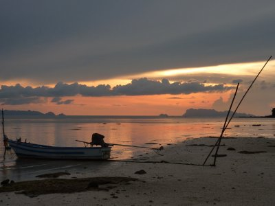 This unlikely inauspicious scene turned into a truly blazing sunset over Koh Samui