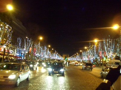 Champs Elysees with all of the Christmas decorations