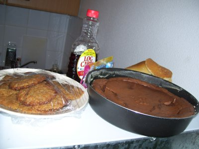 pb cookies, chocolate french cake and pancakes