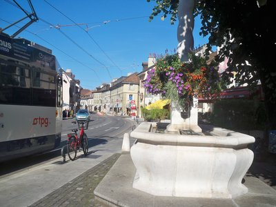 Carouge: fountain and tram