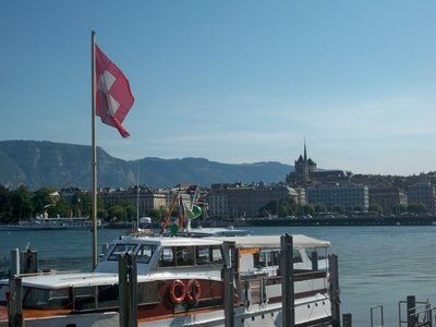 Swiss flag on Lake Geneva
