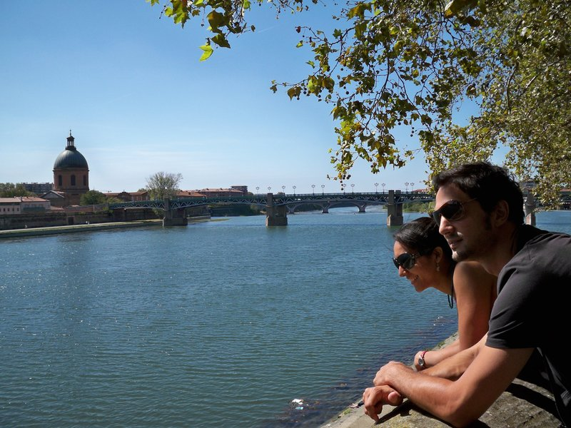 Thibault and I by the main river, La Garonne