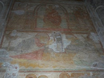 Old mural painting inside of St. Sernin