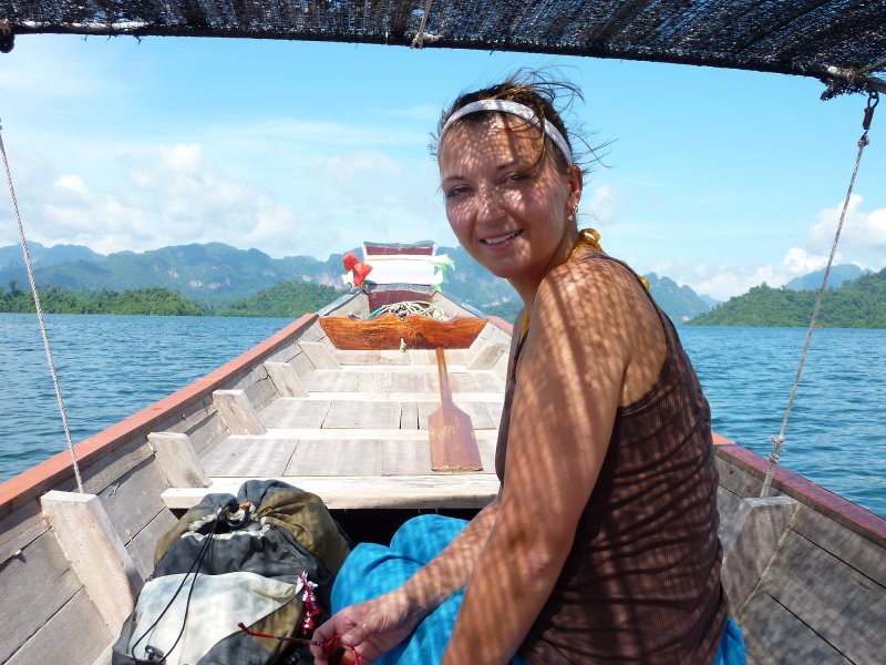 K.Sok Cheow Lan Lk Moi in Longtail boat