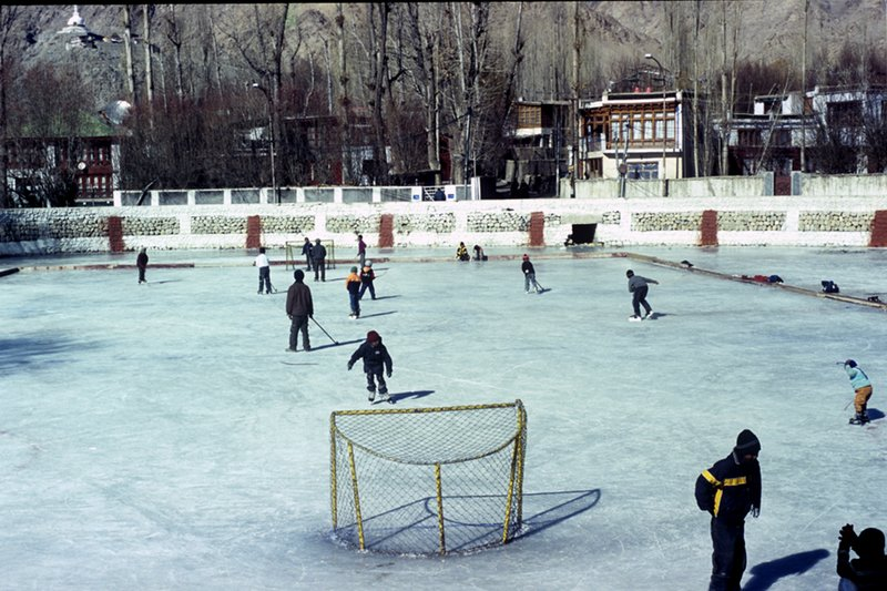 Ice Hockey in a local village in Ladakh