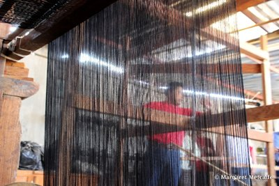 Home looms for weaving Mexican shawls