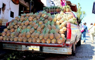 Pick-up full of pineapples