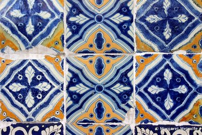 Colonial tiles on Mexican building