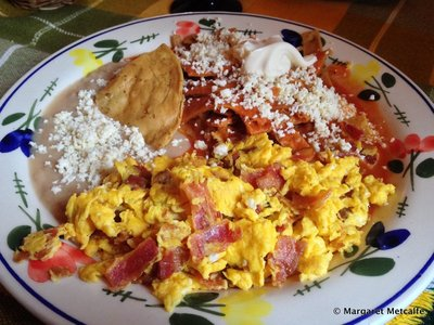 Mexican breakfast - chilaquiles rojos