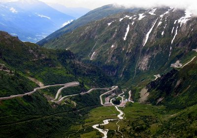 Looking down the Furka Pass