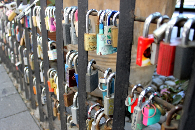 Padlocks locked to railings