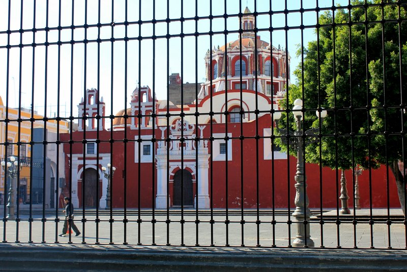 Red church in Puebla