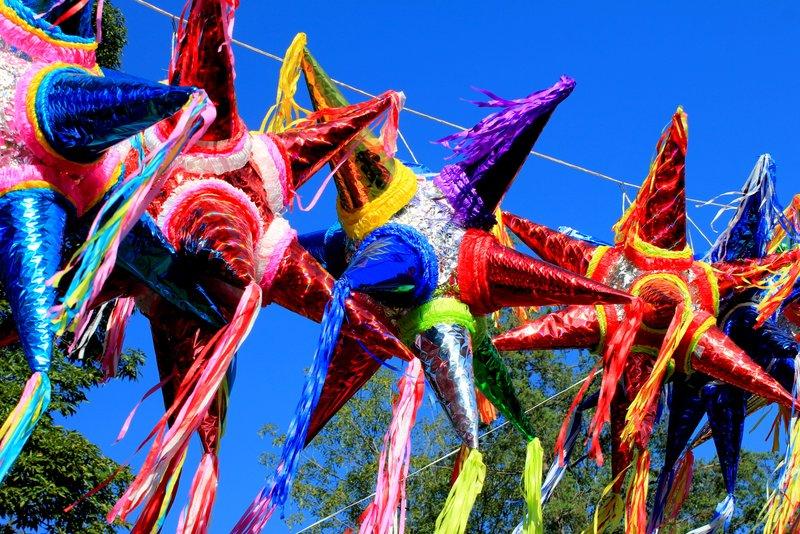Brightly-colored pinyatas
