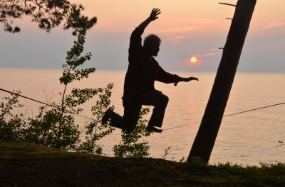 Slackline and Sunset