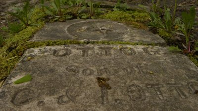 Fallen Gravestone Etchings