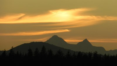 Sunset over the Fairweather Mountains