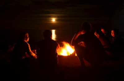 Moonrise and Bonfire
