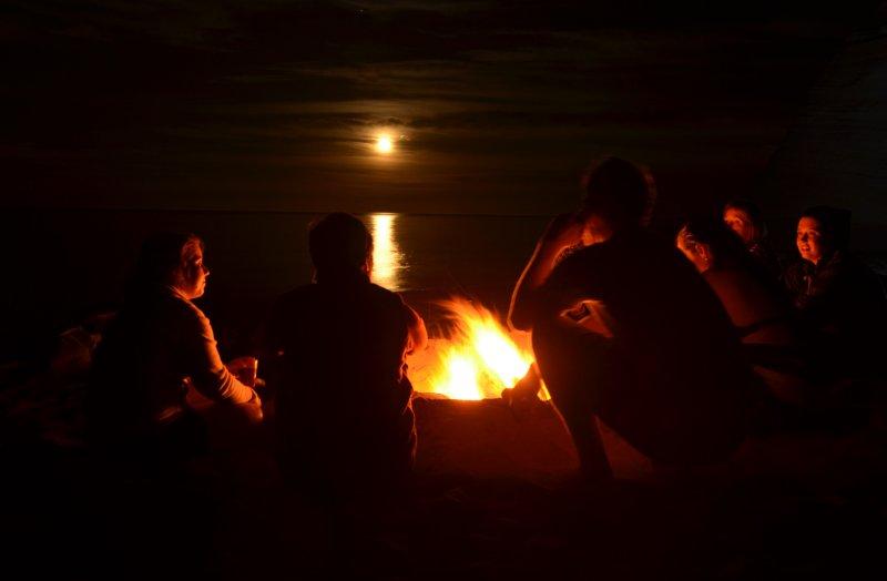 Moonrise and Bonfire