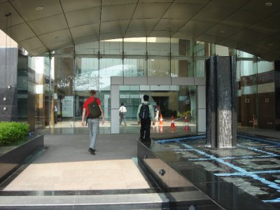 Entering the office building