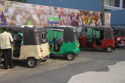 Auto rikshaw come in all colors