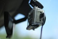 GoPro, mounted to the windshield