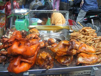 Glazed duck and quail, Chau Doc Market