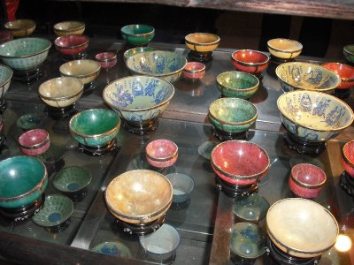 Bowls made from various materials such as porcelain and precious stone, Memorial House