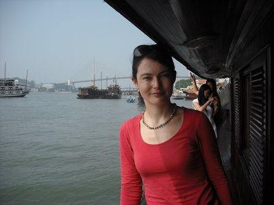 Just arrived on our junk in the harbour, Halong Bay