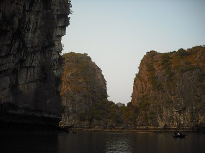 Sun shining on the karst hills, Halong Bay