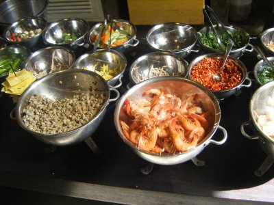 Array of ingredients at Quan An Ngon, yum!