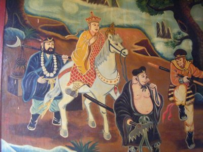 Mural, there's a story to be told, Buddhist temple, Cholon, Saigon