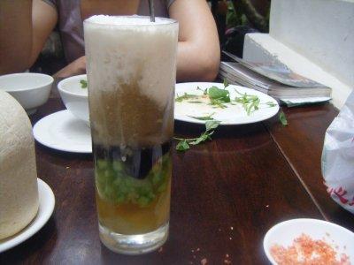 Chè Sương Sa Hột Lựu - Jelly, water chestnut, tapioca pearls and coconut milk traditional Vietnamese pudding, Quan An Ngon