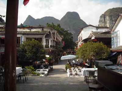 View of Yangshuo from Le Votre restaurant