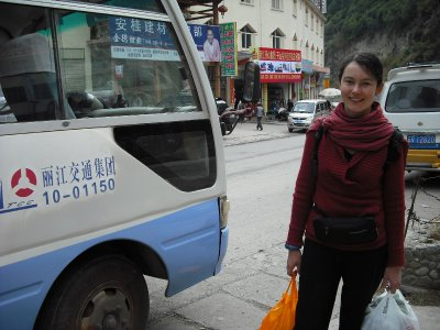 Me waiting to catch the bus out of Qiaotou!