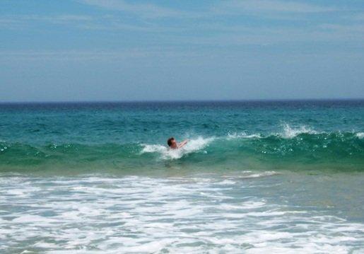 Richard in the surf at Woolamai Beach