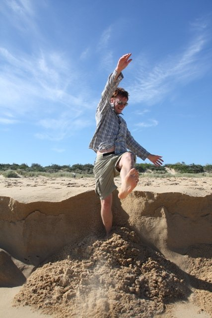 Falling down a sand bank