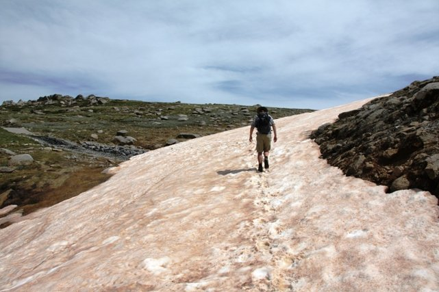 Walking over snow in Australia Summer