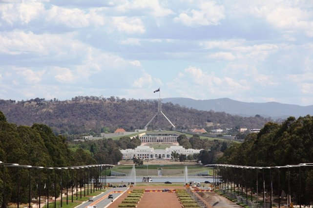 View to Parliment House from ANZAC War Memorial