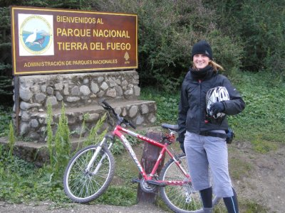 Sarah on bike adventure from Ushuaia