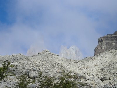 The Torres appearing as we scrambled up - Torres del Paine Nat Park