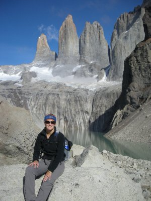Sarah at the Torres - Torres del Paine Nat Park