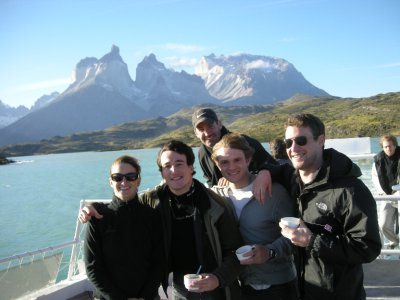 The Ant Cruise boys (and one more) on the Catamaran - Torres del Paine Nat Park